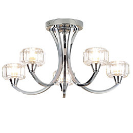 Orara Clear Chrome Effect 5 Lamp Bathroom Ceiling