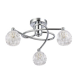 Chandler Cut Glass Chrome Effect 3 Lamp Ceiling