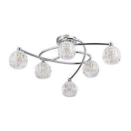 Chandler Cut Glass Chrome Effect 6 Lamp Ceiling