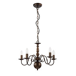 Manning Curled Gold Bronze Effect 5 Lamp Chandelier