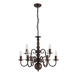 Manning Curled Gold Bronze Effect 9 Lamp Chandelier
