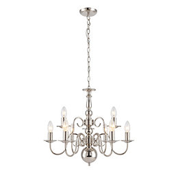 Manning Curled Nickel Effect 9 Lamp Chandelier