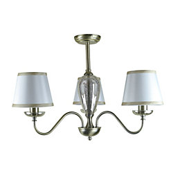 Horton Mottled Mercury Antique Brass Effect 3 Lamp