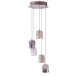 Brogo Cluster Nickel Effect 5 Lamp Pendant Ceiling
