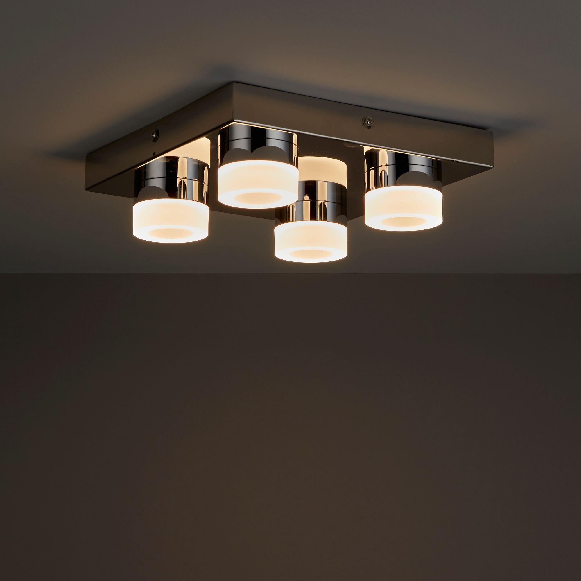 Meroo Clear Chrome Effect 4 Lamp Led Bathroom Ceiling Light