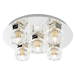 Apsley Clear Chrome Effect 5 Lamp Bathroom Ceiling