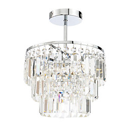 Bargo Clear Chrome Effect 3 Lamp Bathroom Ceiling