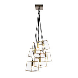 Jules Cube Cage Antique Brass Effect 6 Lamp