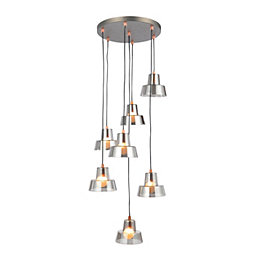 Sadi Conical Smoked 7 Lamp Ceiling Light