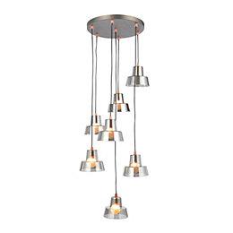 Sadi Conical Smoked 7 Lamp Ceiling Light