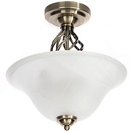 Rolli Antique Brass Effect Flush Ceiling Light