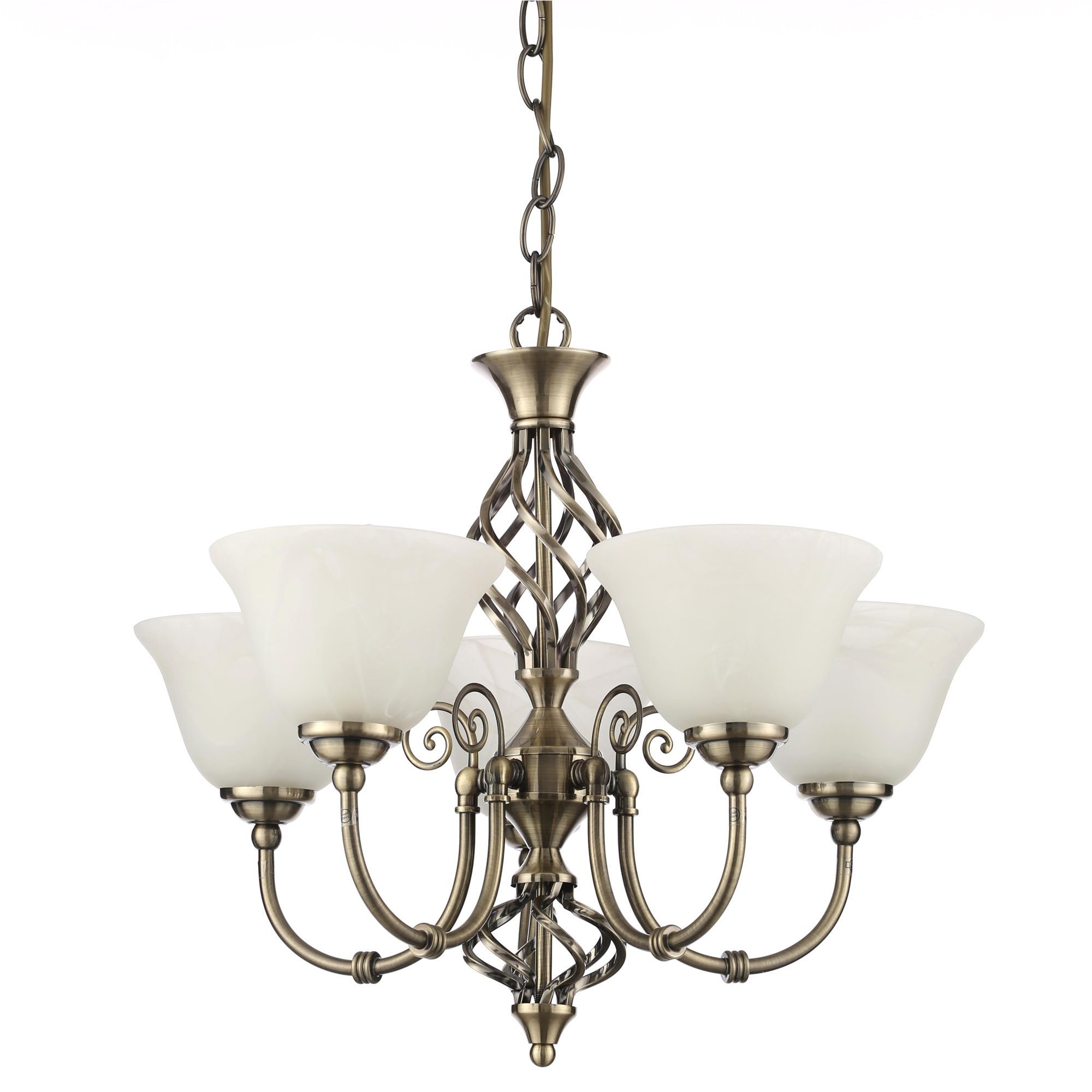 Chandelier Lighting B Q: Rolli Antique Brass Effect 5 Lamp Pendant Ceiling Light