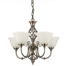 Rolli Antique Brass Effect 5 Lamp Pendant Ceiling