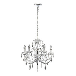 Zinnia Brushed Chrome Effect 5 Lamp Pendant Ceiling