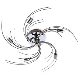 Yarrow Spiral Chrome Effect 5 Lamp Flush Ceiling