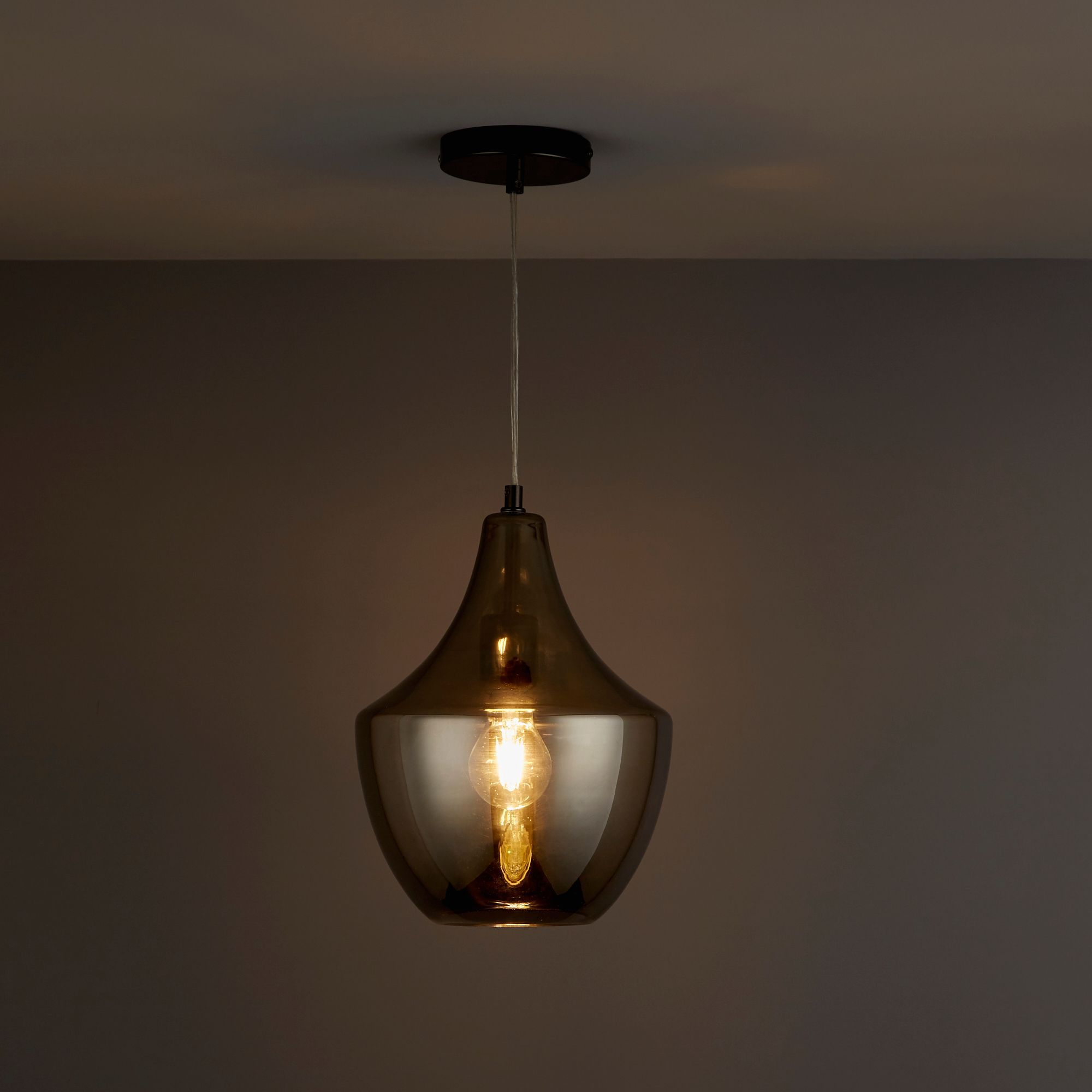 honor smoked pendant ceiling light departments diy  bq
