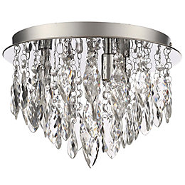 Rosie Chrome Effect 3 Lamp Flush Ceiling Light