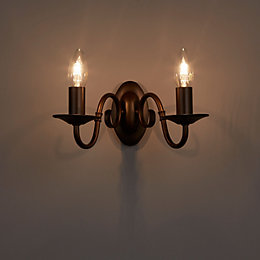 Manning Curled Bronze Effect Double Wall Light