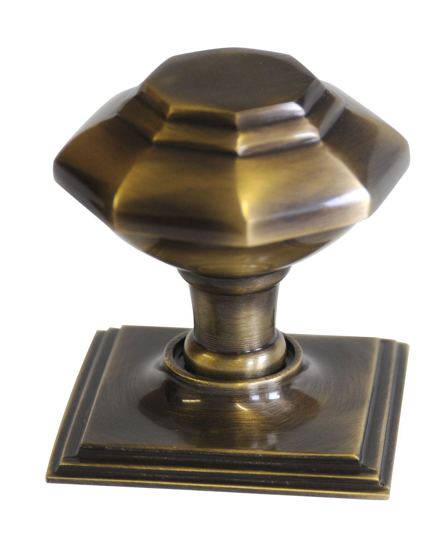 The House Nameplate Company Premier Antique Brass Effect External Octagonal Latch Door Knob