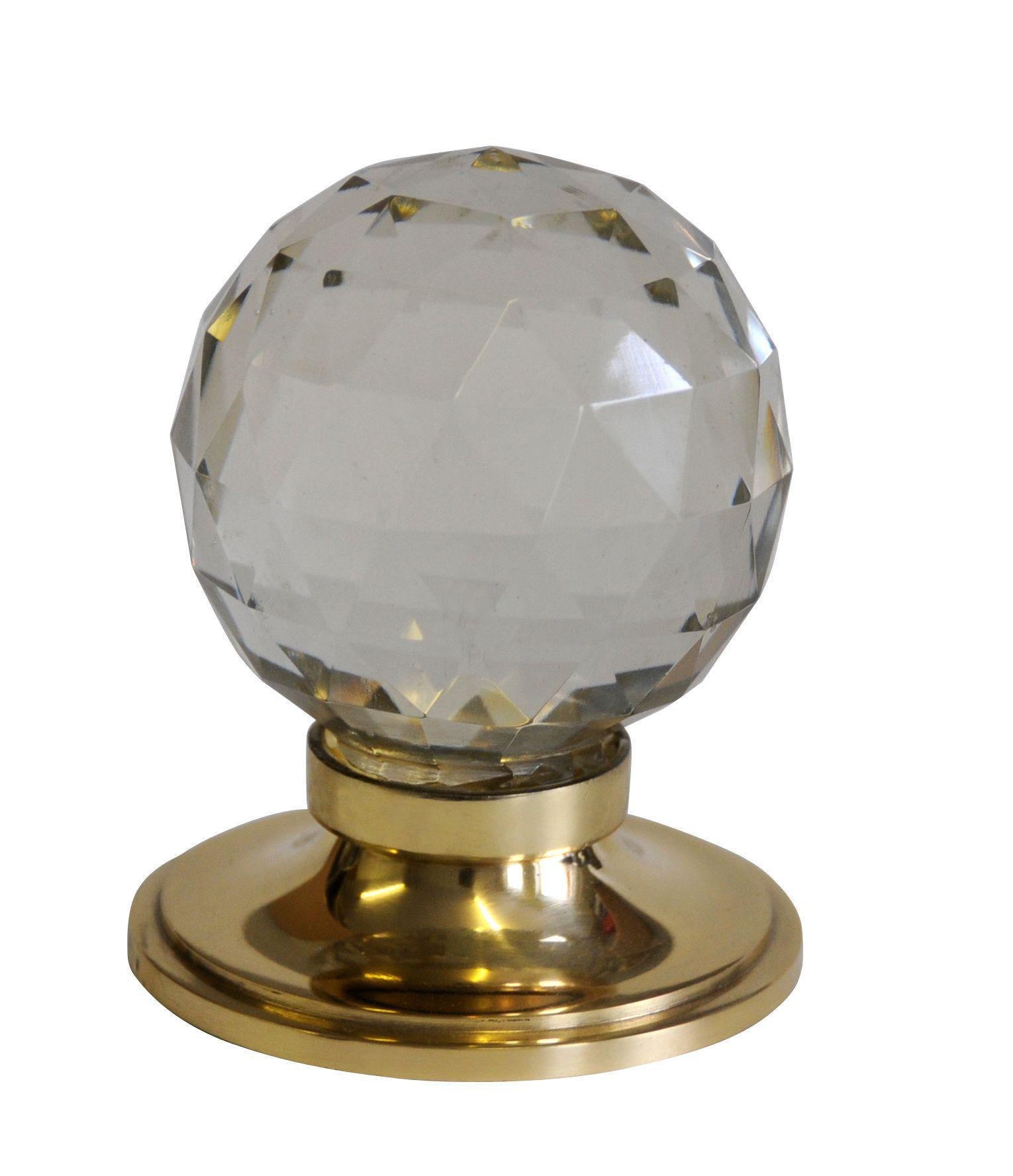 Premier Polished Brass Effect External Round Latch Door Knob, 1