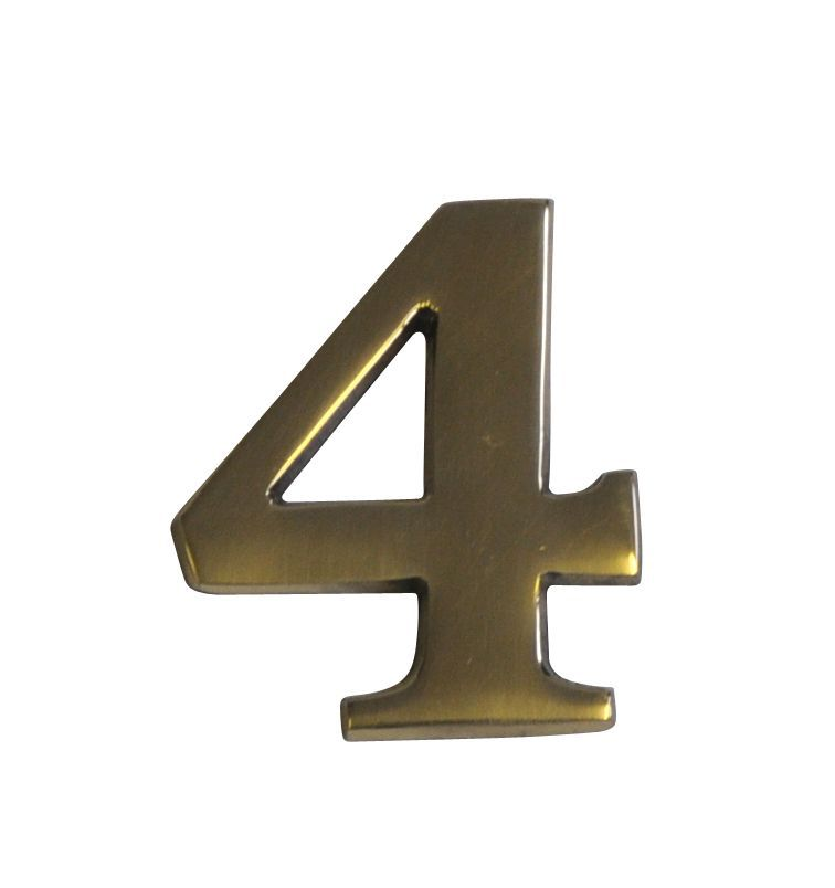Brass Effect Metal 60mm House Number 4
