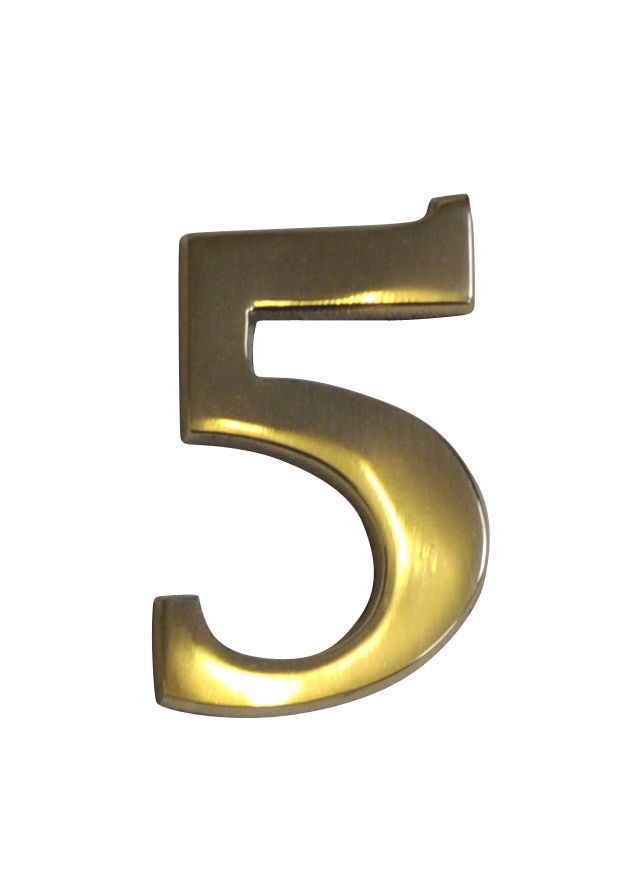 Brass Effect Metal 60mm House Number 5