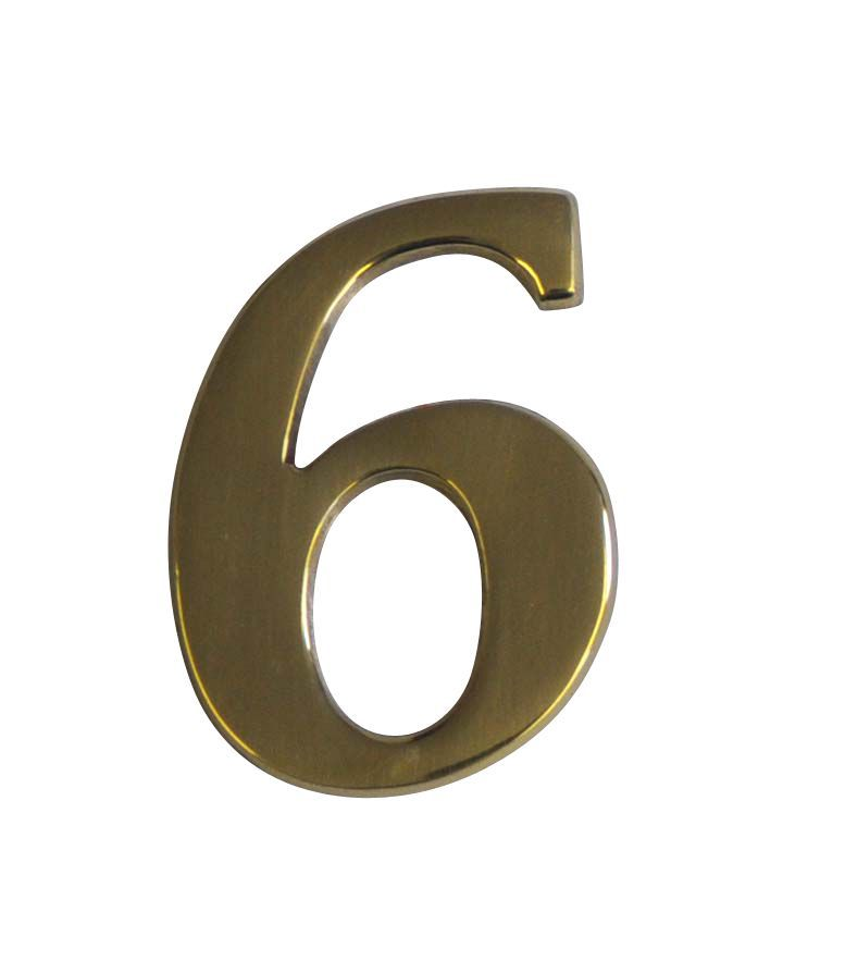 Brass Effect Metal 60mm House Number 6