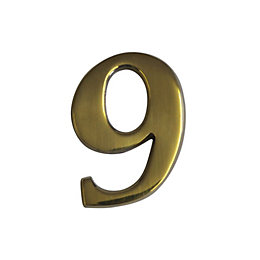 Brass Effect Metal 60mm House Number 9