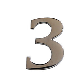 Chrome Effect Metal 60mm House Number 3