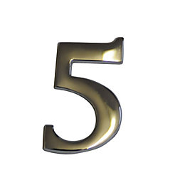 Chrome Effect Metal 60mm House Number 5