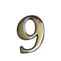 Chrome Effect Metal 60mm House Number 9
