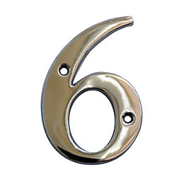 Chrome 102mm House Number 6