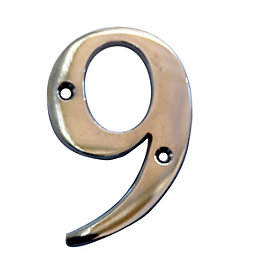 Chrome 102mm House Number 9