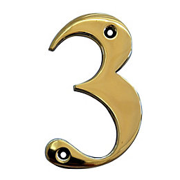Brass 102mm House Number 3