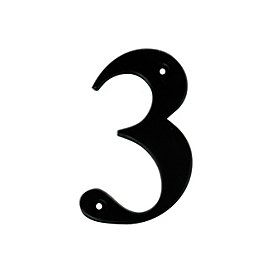 Black Aluminium 100mm House Number 3