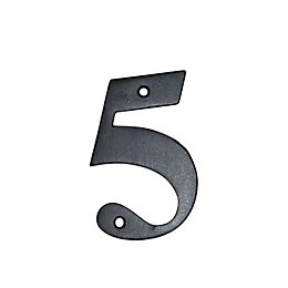 Black Aluminium 150mm House Number 5