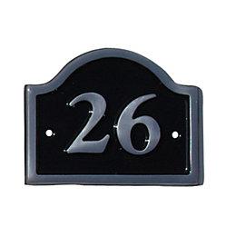 Black Aluminium House Plate Number 26