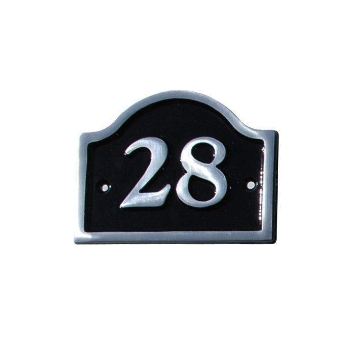 Black Aluminium 120mm House Plate Number 28 Departments