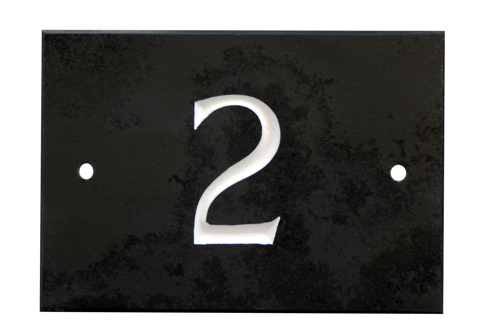Black Slate Rectangle House Plate Number 2