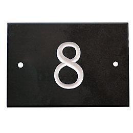 Black Slate Rectangle House Plate Number 8