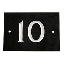 Black Slate Rectangle House Plate Number 10