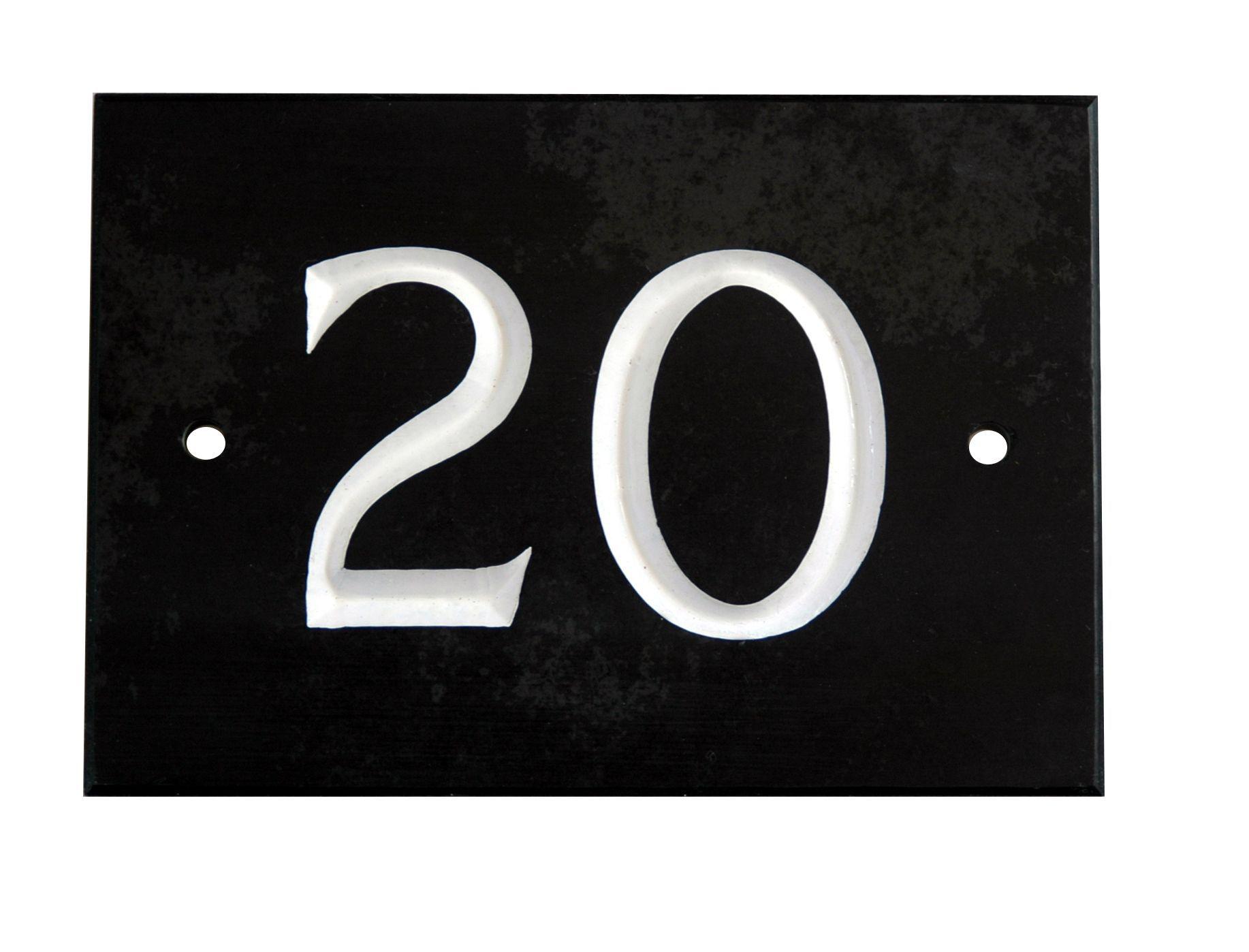 Black Slate Rectangle House Plate Number 20