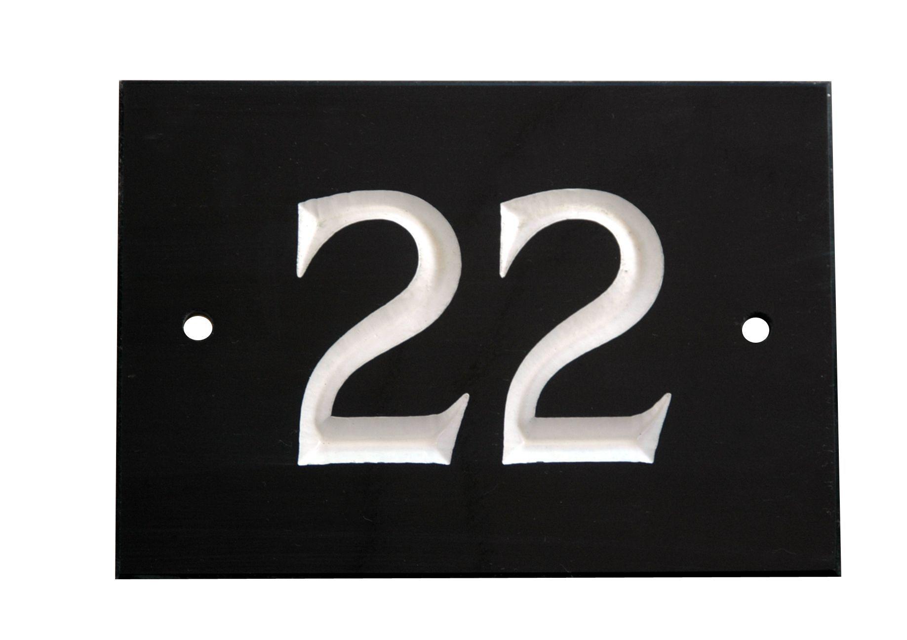Black Slate Rectangle House Plate Number 22