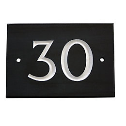 Black Slate Rectangle House Plate Number 30