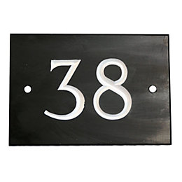 Black Slate Rectangle House Plate Number 38