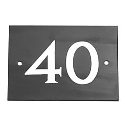 Black Slate Rectangle House Plate Number 40