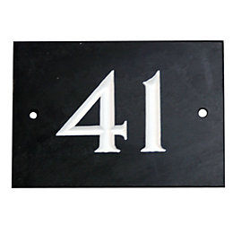 Black Slate Rectangle House Plate Number 41