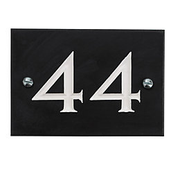 Black Slate Rectangle House Plate Number 44