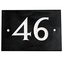 Black Slate Rectangle House Plate Number 46