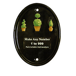 Black Ceramic Oval Door Number Kit